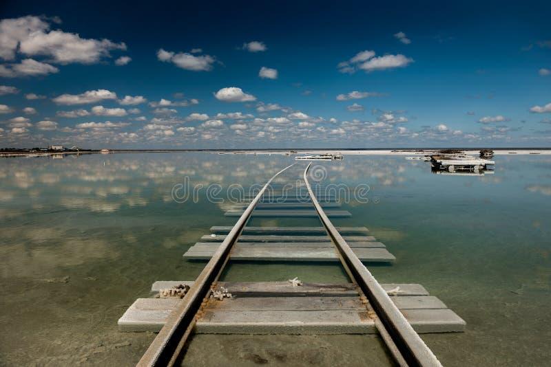 De sporen op het meer Baskunchak stock afbeelding