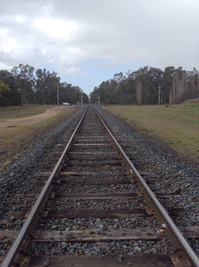 De sporen van de spoorweg stock foto's