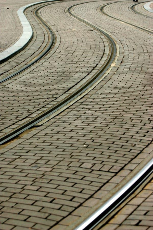 De sporen van de tram stock foto