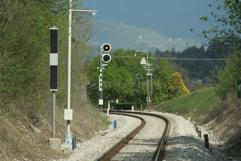 De sporen van de trein stock foto's