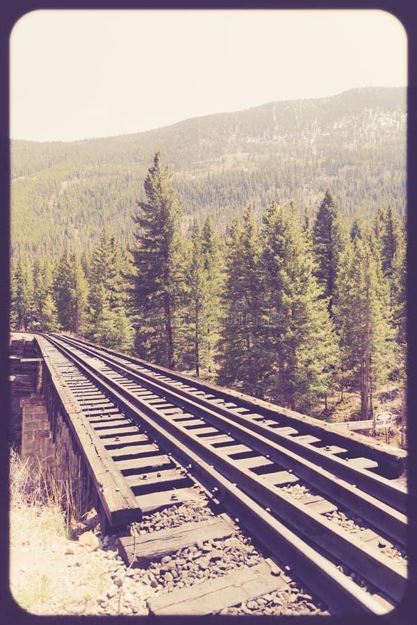 De sporen van de spoorwegtrein door platteland royalty-vrije stock afbeeldingen