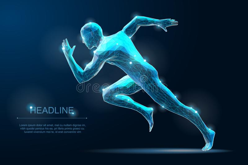 De sport stelt de Mens in werking Sprinterillustratie Begin het bewegen zich stelt royalty-vrije stock afbeelding