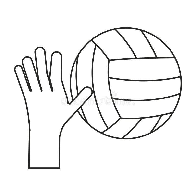de sport van de het volleyballbal van de handholding verdunt lijn vector illustratie