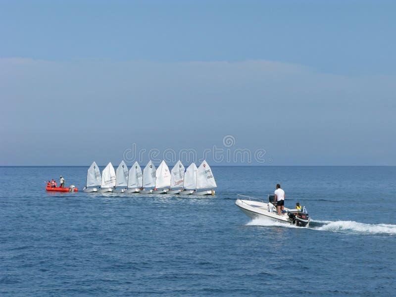 De sport van het water Opleiding bij varende boten stock foto's