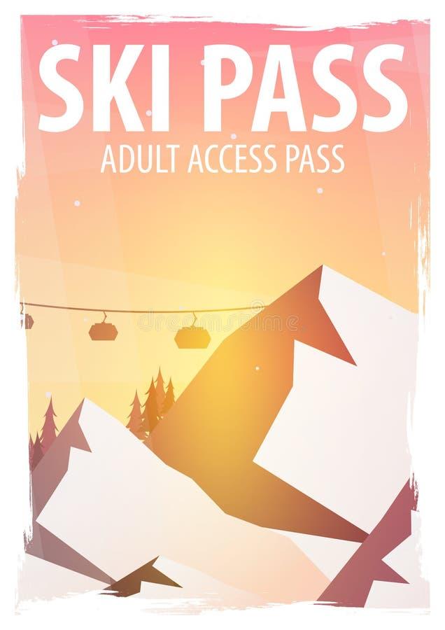 De sport van de winter Skipas Het landschap van de berg Snowboarder in motie Vector illustratie vector illustratie