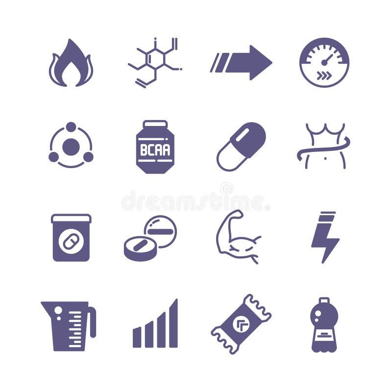De sport vult macht, proteïne en vitamine de vectorpictogrammen van de sportenvoeding aan stock illustratie