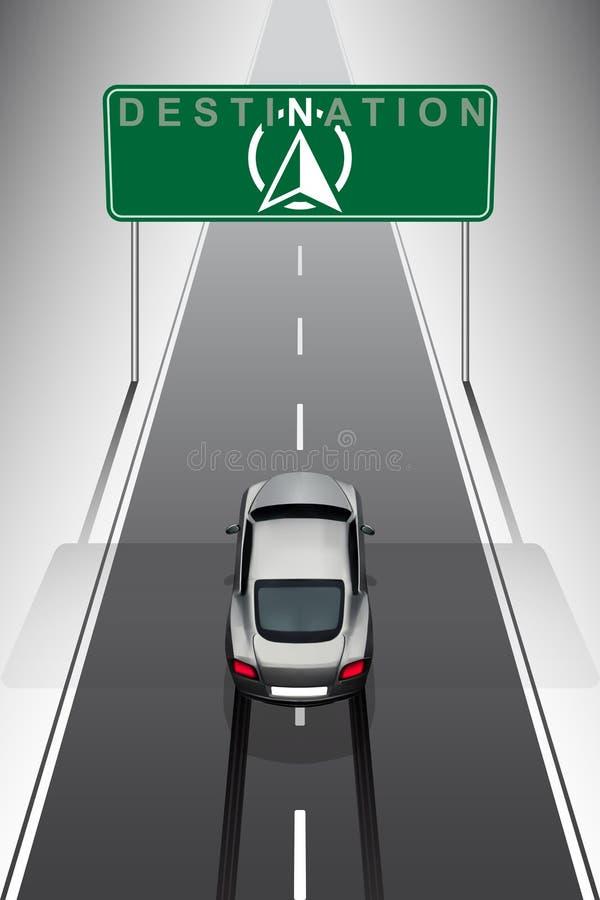 De sportauto gaat naar bestemming vector illustratie