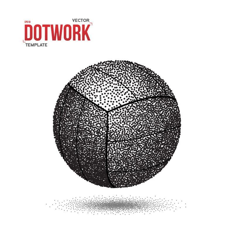 De Sportbal van Dotworkvoleyball in Halftone Stijl wordt gemaakt die stock illustratie