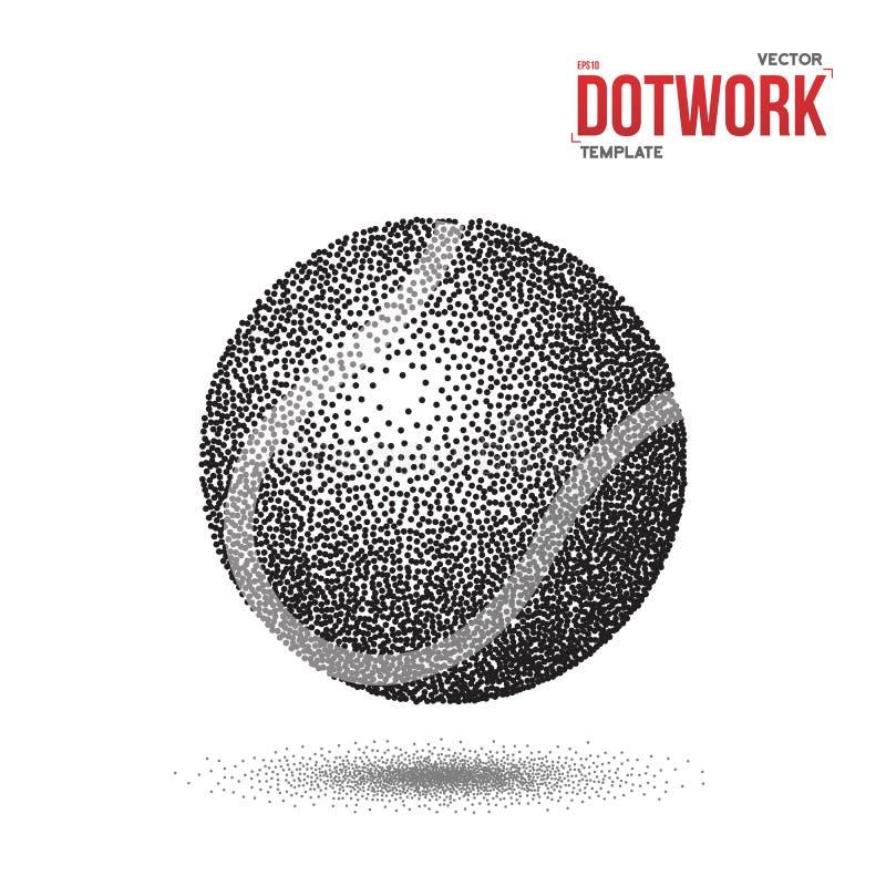 De Sportbal van het Dotworktennis in Halftone Stijl wordt gemaakt die stock illustratie