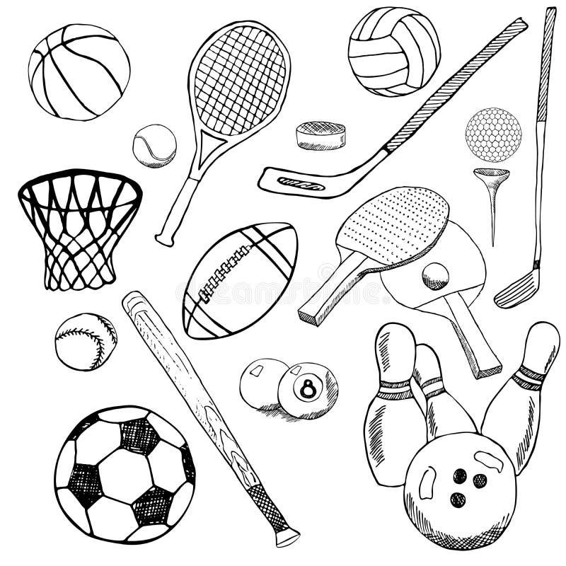 De sportballen overhandigen getrokken die schets met honkbal, kegelen, tennisvoetbal, golfballen en andere sportenpunten wordt ge stock illustratie