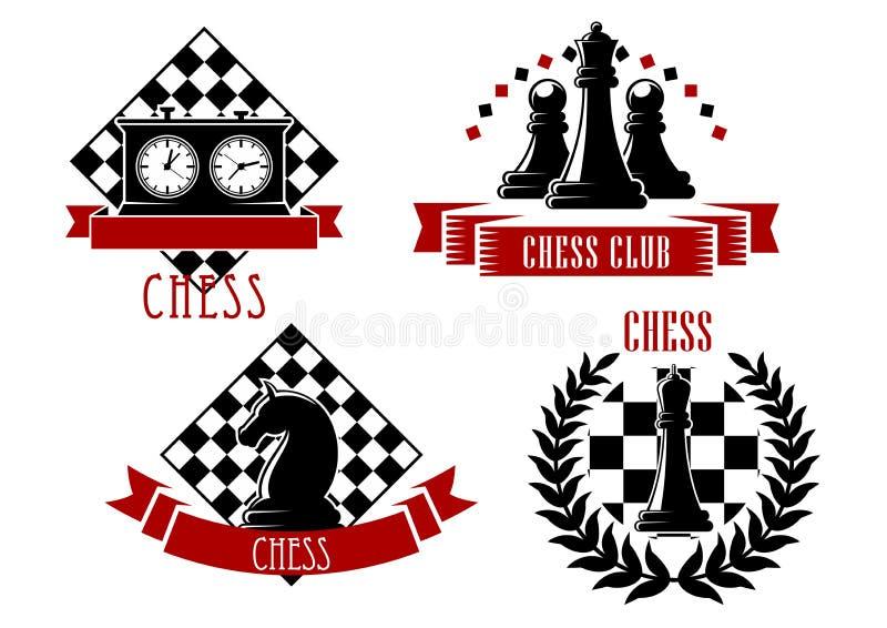 De sportemblemen en pictogrammen van het schaakspel royalty-vrije illustratie