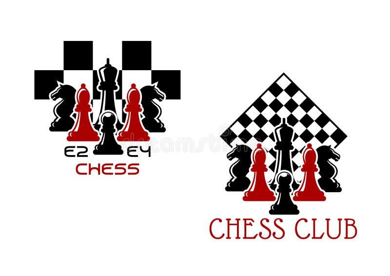 De sportemblemen of symbolen van de schaakclub stock illustratie