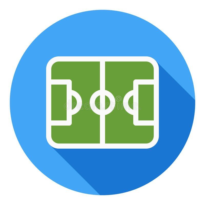 De sporten vectorpictogram van het voetbalgebied, Sportterreinpictogram, het symbool van het voetbalgebied Modern, vlak lang scha stock illustratie