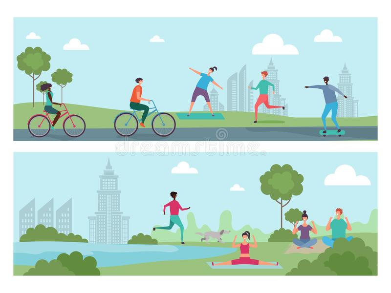 De sportenmensen in de stad parkeren Openluchtactiviteit, internationale mensen die fietsen, het lopen berijden, die yogavector d royalty-vrije illustratie