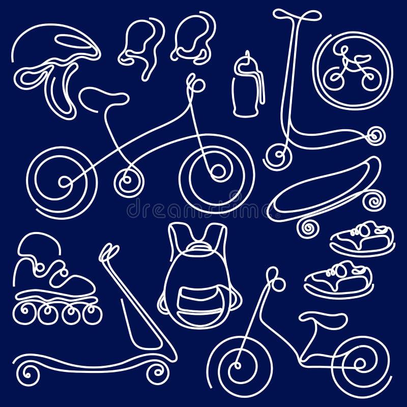 De sportieve goederen van de krabbelschets voor jonge geitjes De reeks van de lijnkunst Vector symbool royalty-vrije illustratie