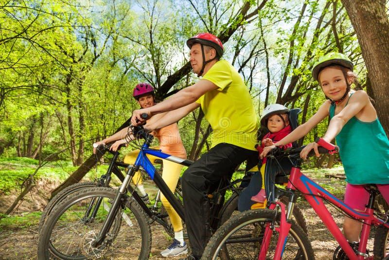 De sportieve reis van de familiefiets in het zonnige de lentebos stock foto