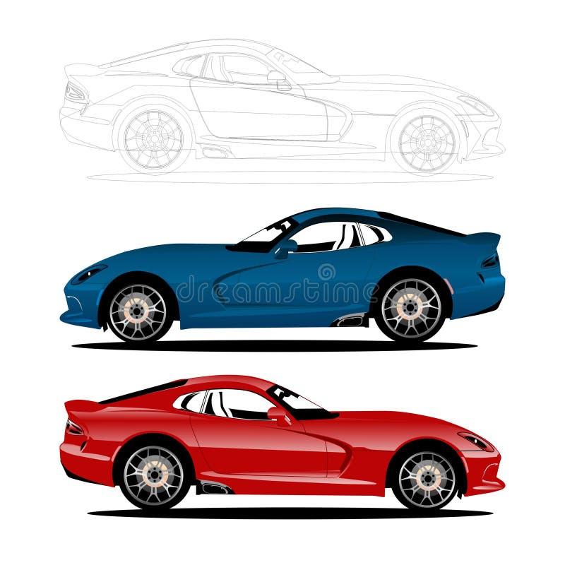 De sportieve vector van de autoillustratie stock illustratie