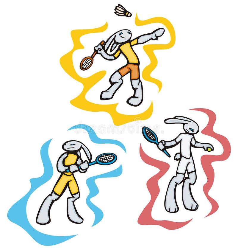De sportillustraties van het konijntje stock illustratie