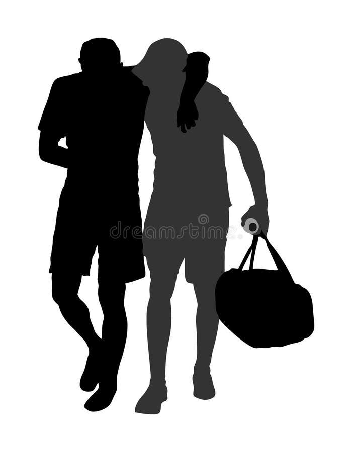 De sportman van de artsensteun in gelijke, eerste hulp voor verwond mensen vectorsilhouet Patiënten medische hulp Gelaedeerde stock illustratie