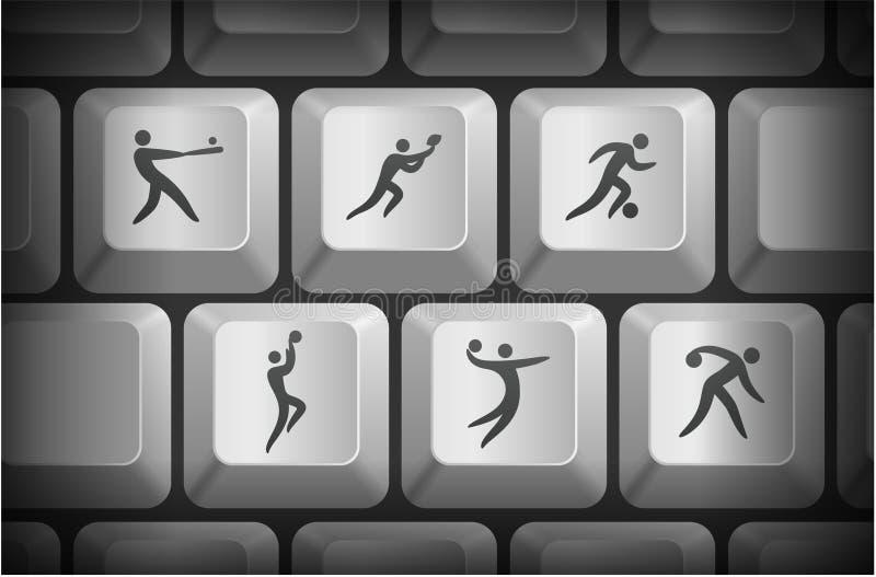 De sportpictogrammen op Computer tikken Knopen in vector illustratie