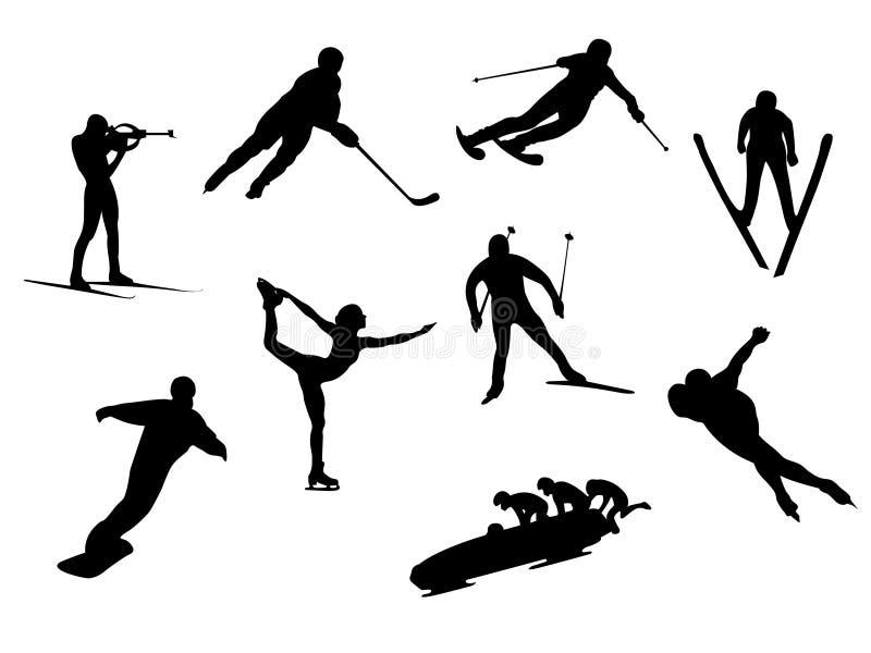 De sportsilhouetten van de winter royalty-vrije illustratie
