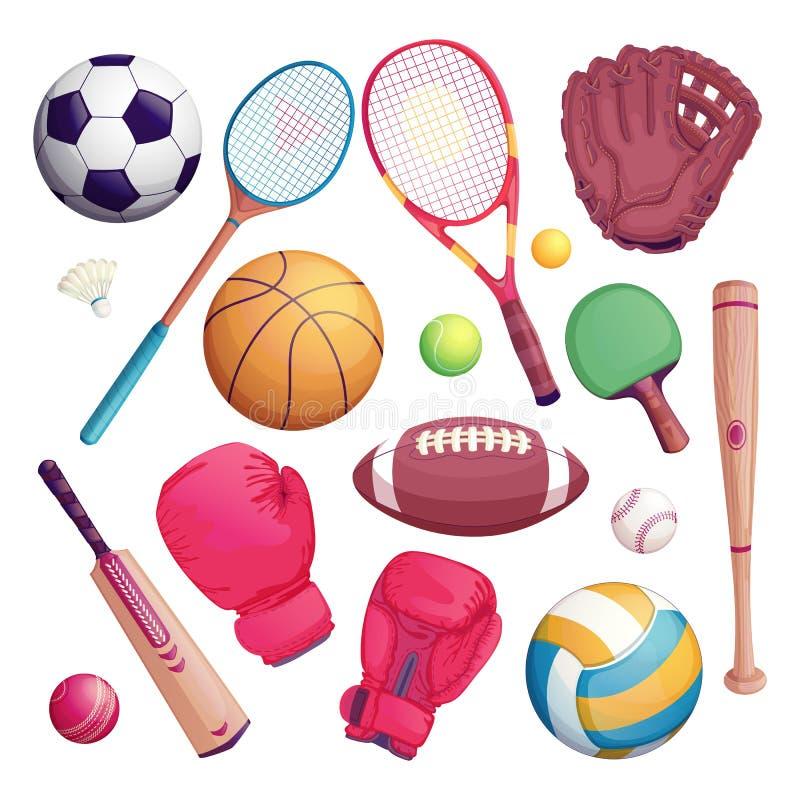 De sportuitrusting isoleert voorwerpen Vectorbeeldverhaalillustratie van voetbal, voetbal, tennis, veenmol, honkbalspel vector illustratie