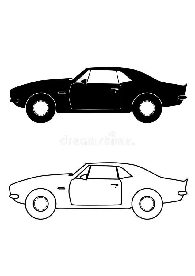 De sportwagen isoleerde teken en schetst auto in vlakke stijl stock illustratie
