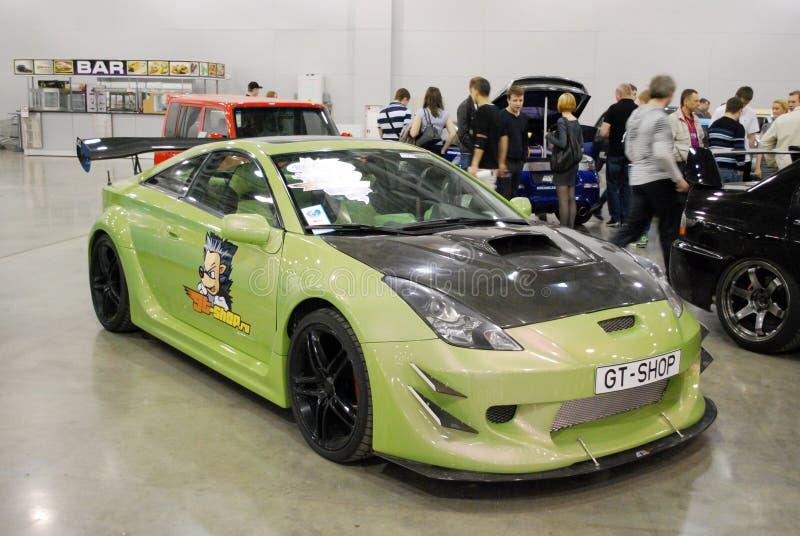 De sportwagen Toyota Celica T23 in Krokus Expo moskou royalty-vrije stock afbeelding
