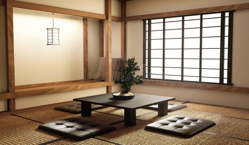De spot omhoog, ontwierp specifiek in Japanse stijl, woonkamer het 3d teruggeven stock illustratie