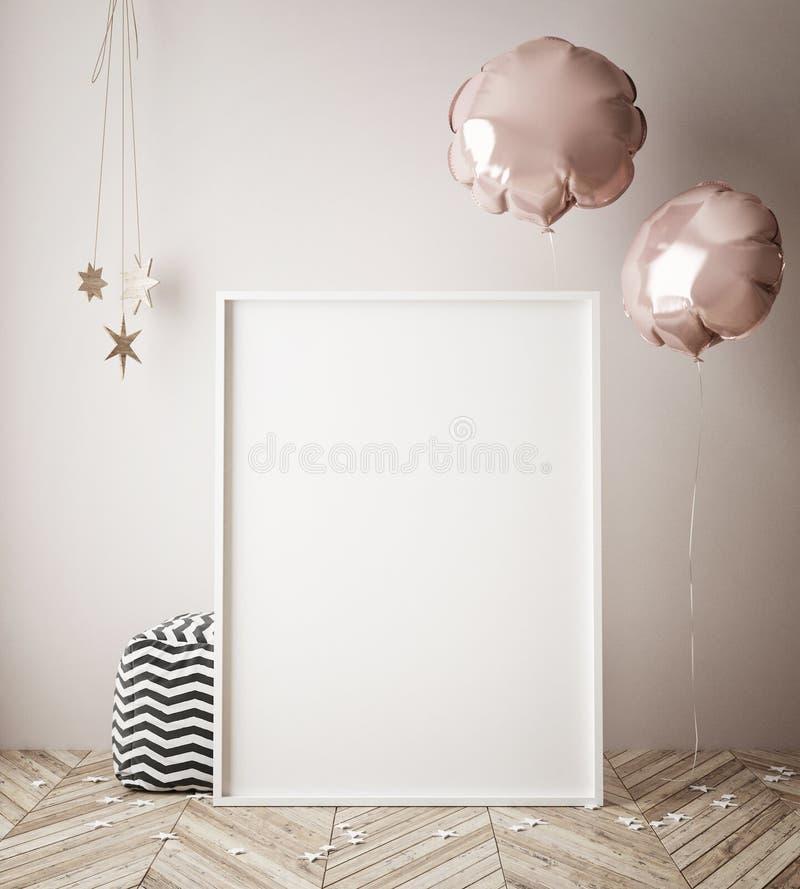 De spot op affiche op binnenlandse achtergrond met 3D partijdecoratie, geeft terug vector illustratie