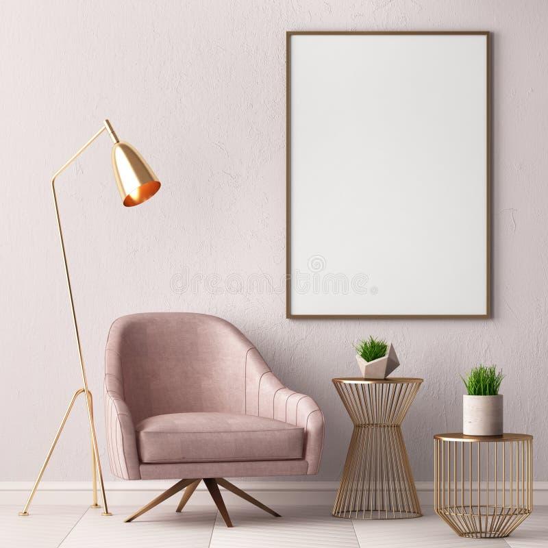 De spot op affiche in het binnenland met een 3D stoel en een lijst, geeft, 3d illustratie terug stock illustratie