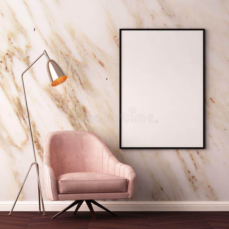De spot op affiche in het binnenland met een leunstoel en een lijst aangaande de 3d achtergrond van een marmeren muur, geeft, 3d  vector illustratie