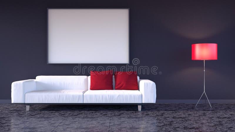 De spot op affiche, hipster 3d woonkamer, geeft terug vector illustratie
