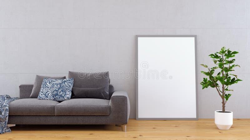 De spot op affiche, moderne 3d woonkamer, geeft terug royalty-vrije illustratie
