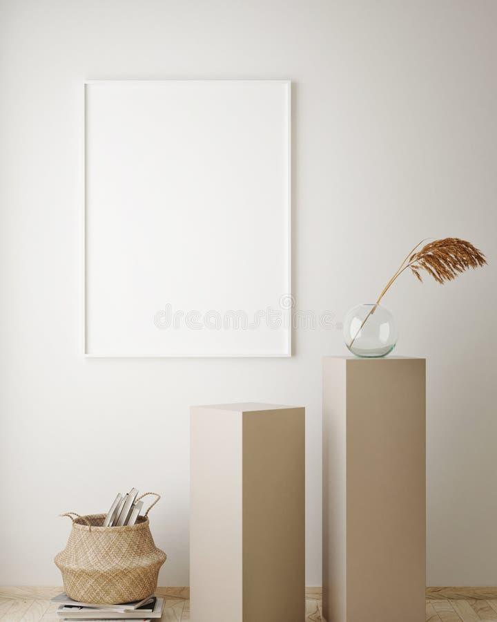 de spot op affichekader op geometrische binnenlandse achtergrond, 3D pastelkleuren, geeft, 3D illustratie terug royalty-vrije illustratie