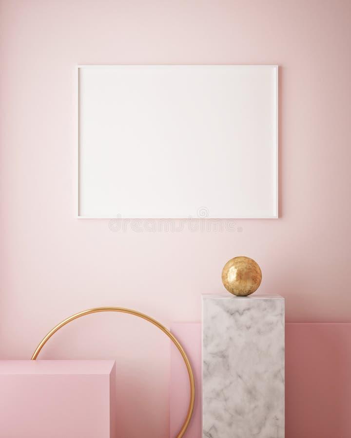 de spot op affichekader op geometrische binnenlandse achtergrond, 3D pastelkleuren, geeft, 3D illustratie terug vector illustratie
