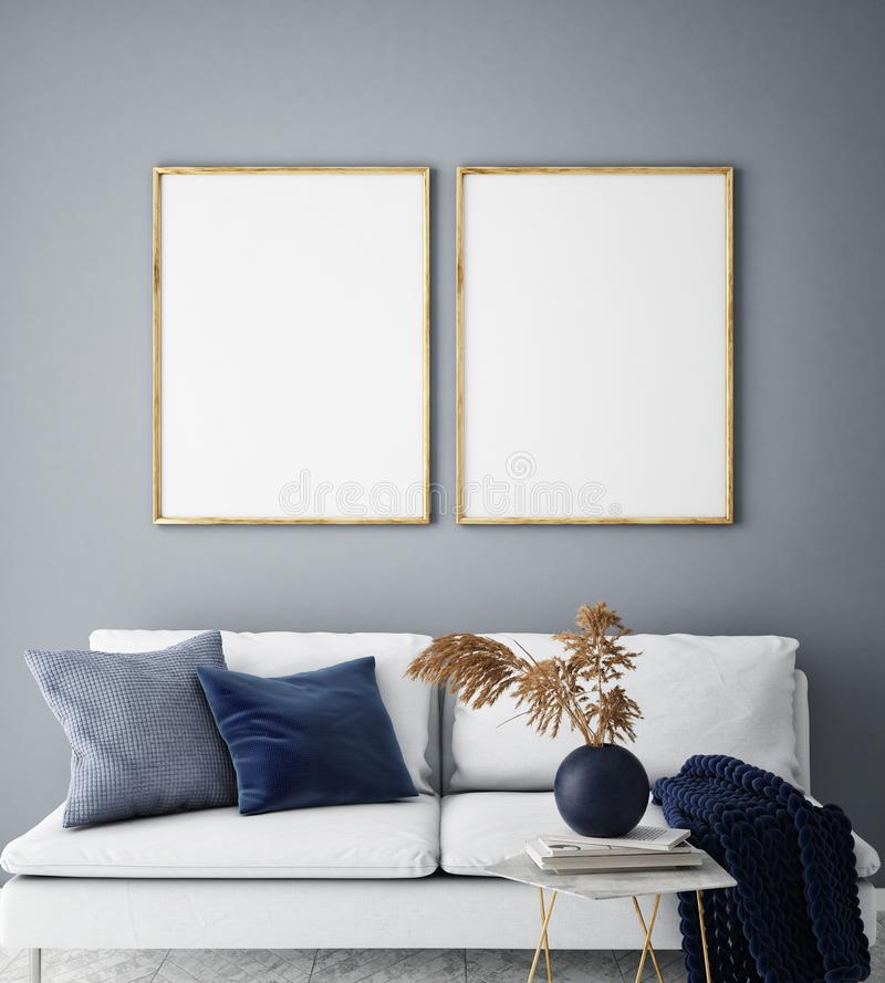 De spot op affichekader op hipster binnenlandse achtergrond, woonkamer, Skandinavische 3D stijl, geeft, 3D illustratie terug stock illustratie