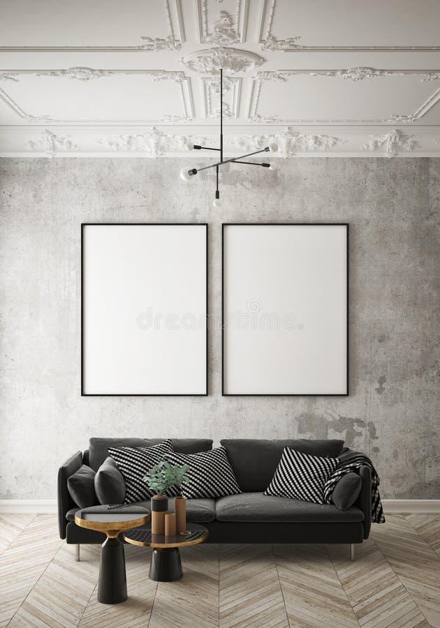 De spot op affichekader op hipster binnenlandse achtergrond, woonkamer, Skandinavische 3D stijl, geeft, 3D illustratie terug royalty-vrije illustratie