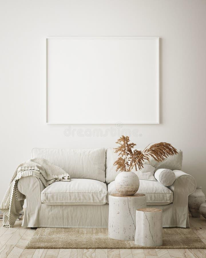 de spot op affichekader op hipster binnenlandse achtergrond, woonkamer, Skandinavische 3D stijl, geeft, 3D illustratie terug vector illustratie