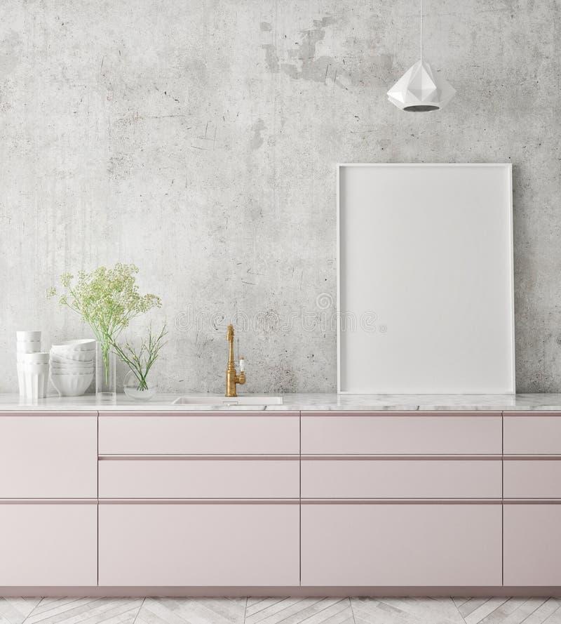De spot op affichekader op keuken binnenlandse achtergrond, Skandinavische 3D stijl, geeft terug stock foto