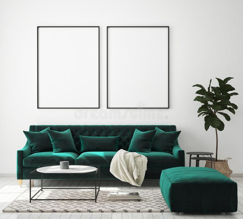 De spot op affichekader op moderne binnenlandse achtergrond, woonkamer, Skandinavische 3D stijl, geeft, 3D illustratie terug vector illustratie
