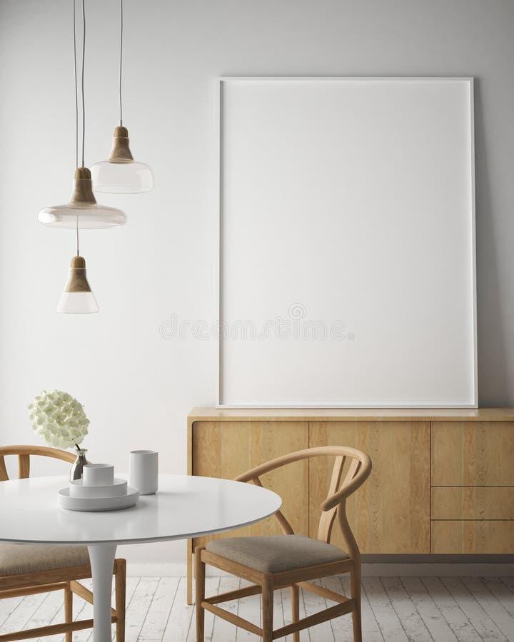 De spot op affichekader op hipster binnenlandse achtergrond, Skandinavische 3D stijl, geeft terug, vector illustratie