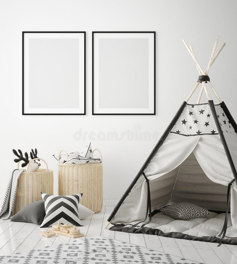 De spot op affichekaders in kinderenslaapkamer, Skandinavische 3D stijl binnenlandse achtergrond, geeft terug stock illustratie