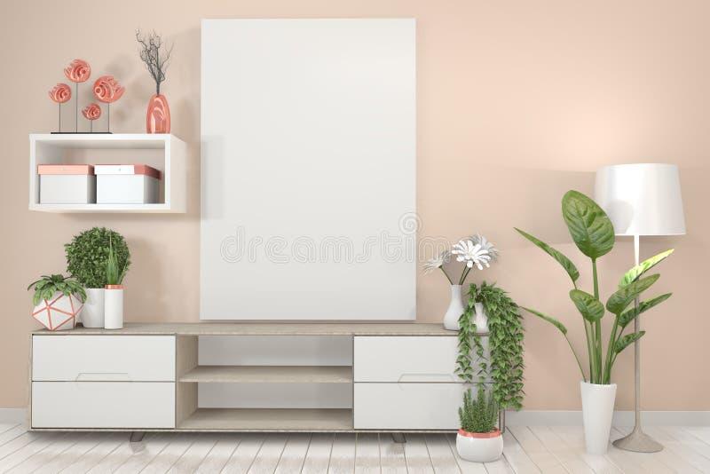 De spot op TV-plankenkabinet in moderne lege ruimte, bespot omhoog affichekader en roze muur Japanse stijl het 3d teruggeven stock illustratie