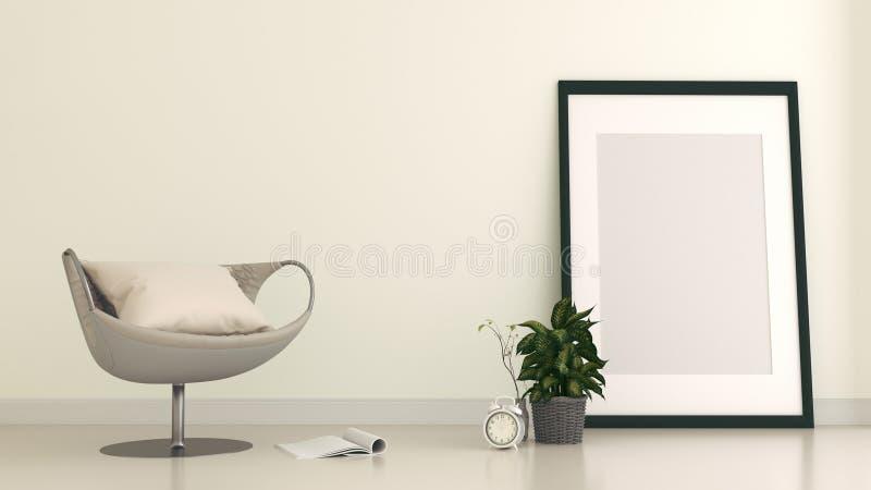 De spot op Zaal binnenland heeft een bank en een bekendheid op lege witte muurachtergrond, het 3D teruggeven stock illustratie