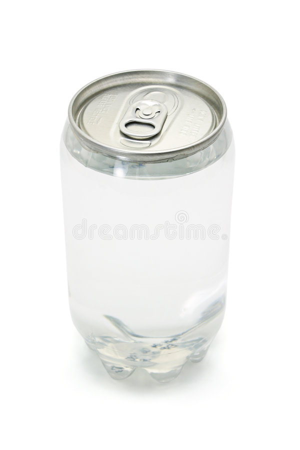 De sprankelende drank in plastiek kan met metaal bedekken stock fotografie
