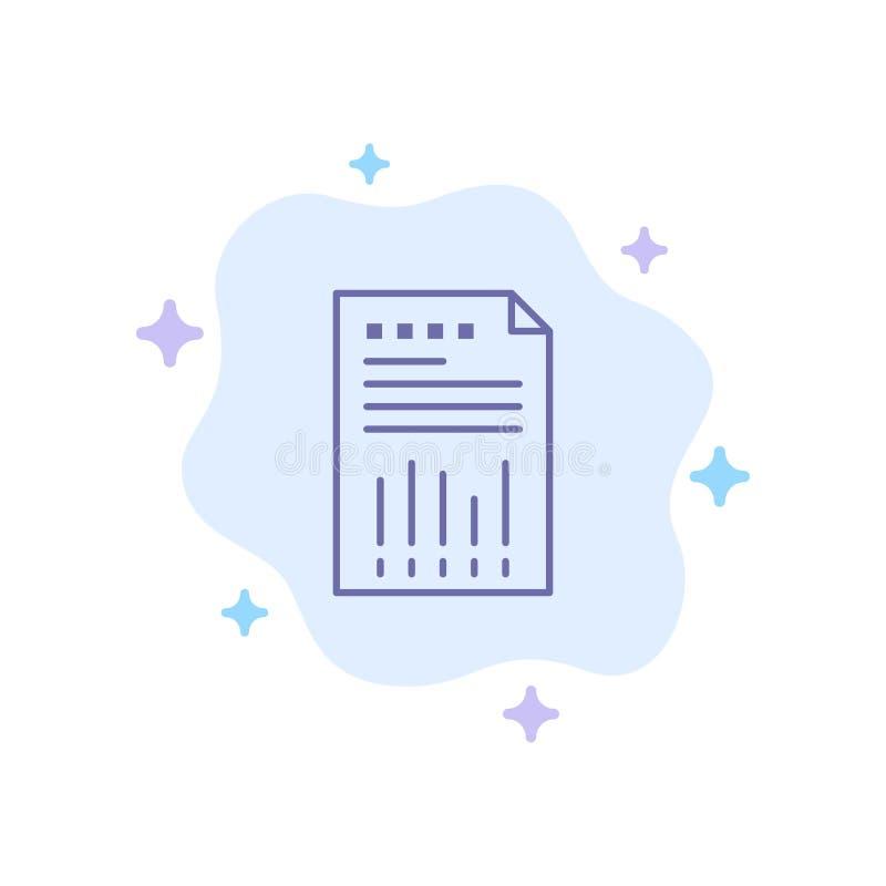 De spreadsheet, Zaken, Financiële Gegevens, Grafiek, Document, meldt Blauw Pictogram over Abstracte Wolkenachtergrond vector illustratie