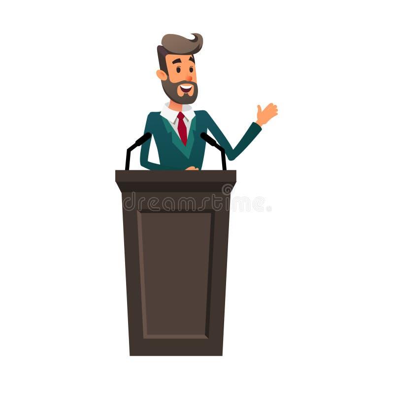De sprekerstribunes achter de rostra De de sprekerslezingen en gebaren Een jonge politicus spreekt aan het publiek stock illustratie