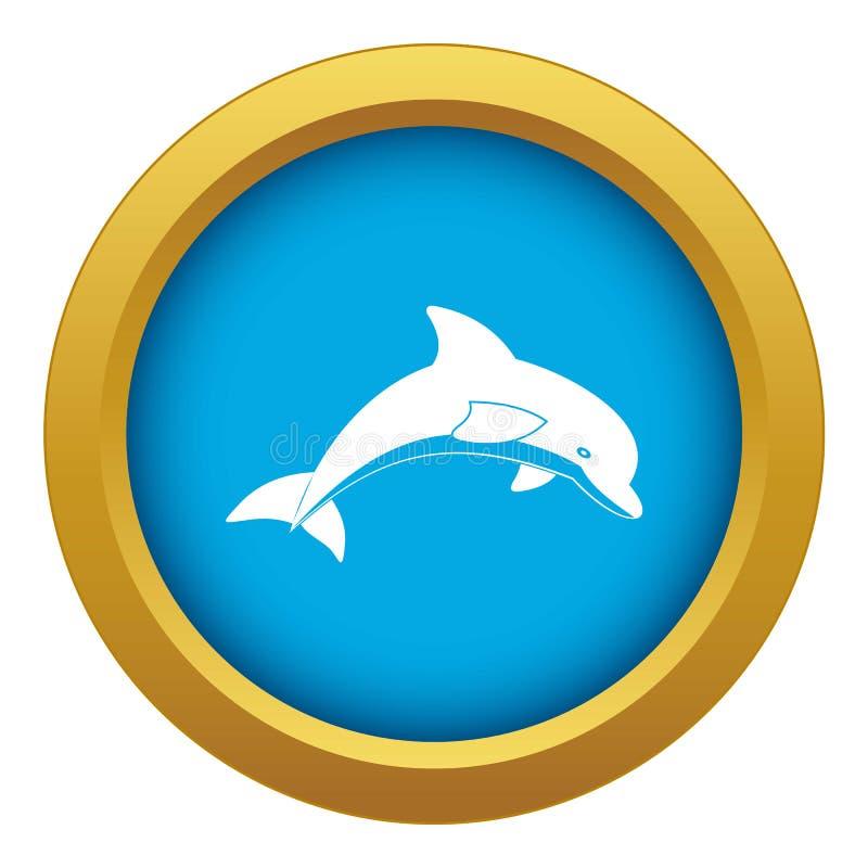 De springende blauwe geïsoleerde vector van het dolfijnpictogram vector illustratie