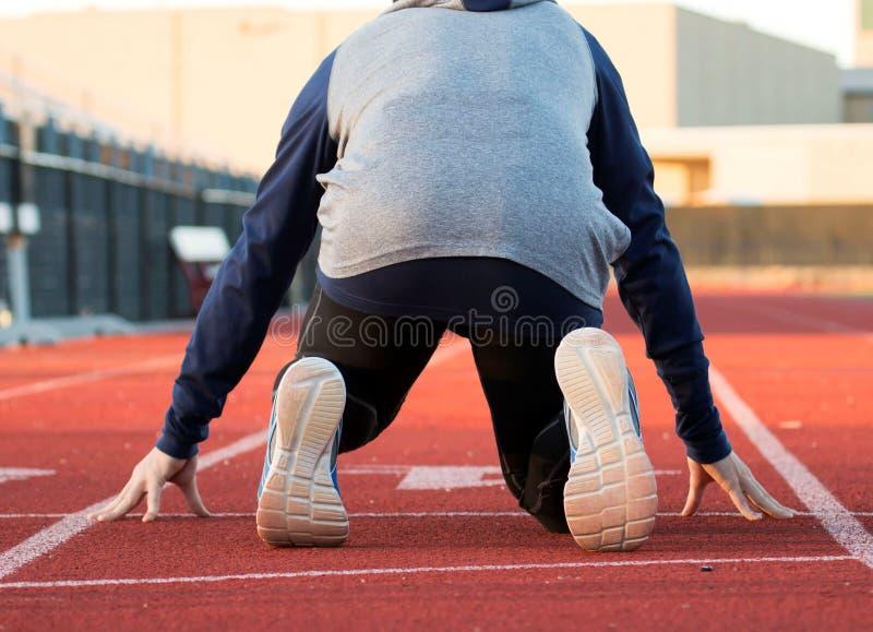 De sprinter in u merkt positie royalty-vrije stock foto